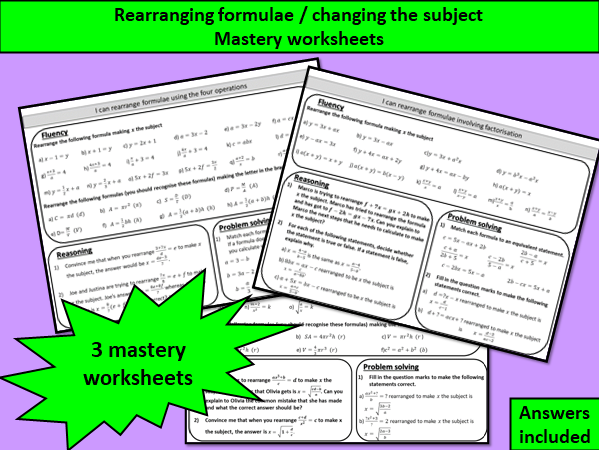 Rearranging formulae / changing the subject - mastery worksheets