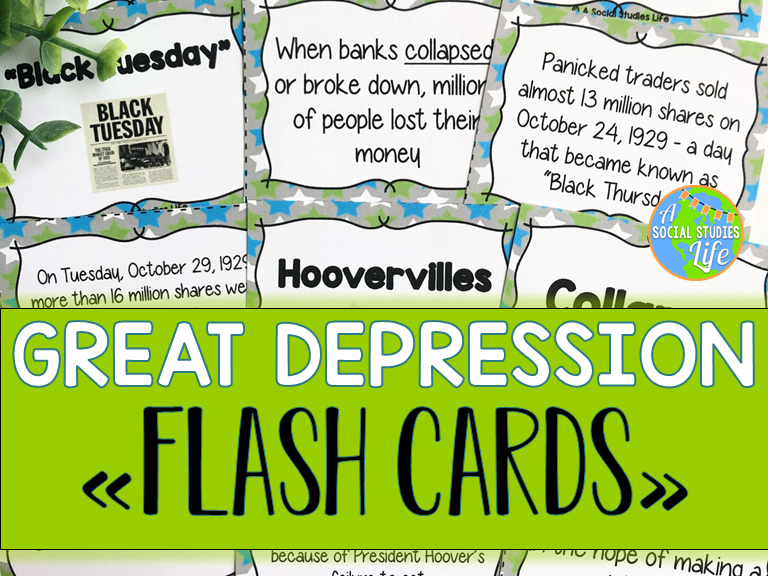 Great Depression FLASH CARDS | Teaching Resources
