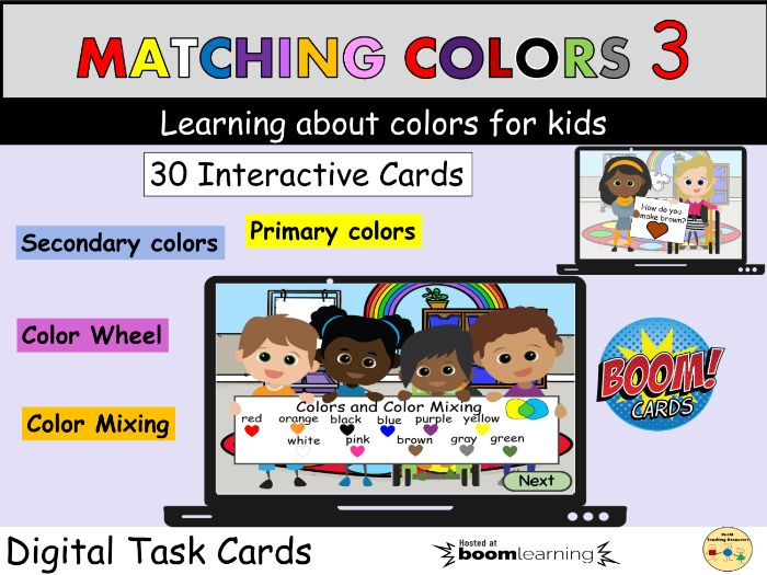 Color Matching Mixing Color Wheel BOOM Cards ™ Distance Learning