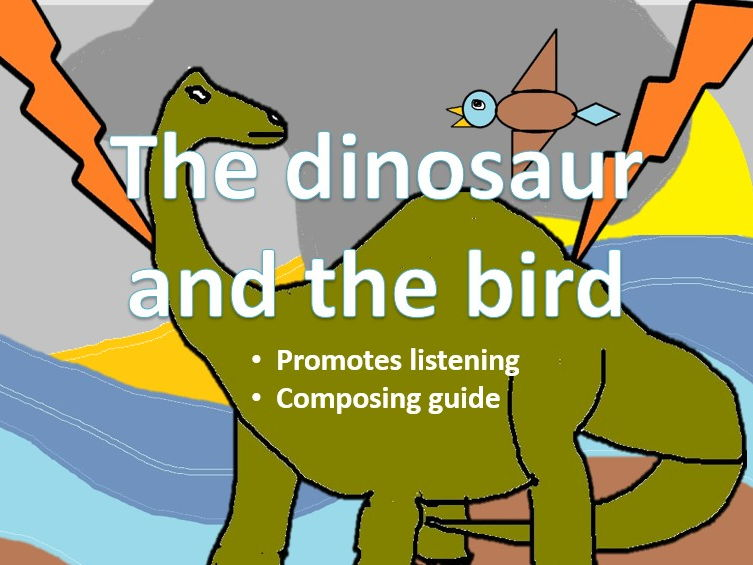 The dinosaur and the bird. Listening and composing