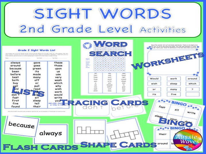 Popular Sight Words GRADE 2 Games, Activities, Flash Cards, Bingo