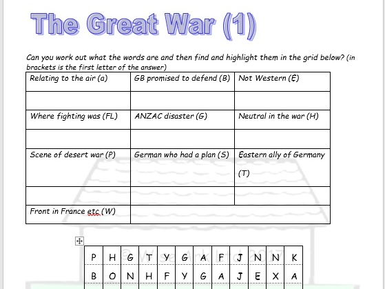 ww1  u0026 ww2 word searches  u0026 quiz combined  sample  by