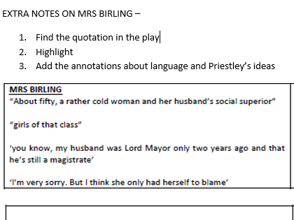 AN INSPECTOR CALLS - MRS BIRLING REVISION NOTES