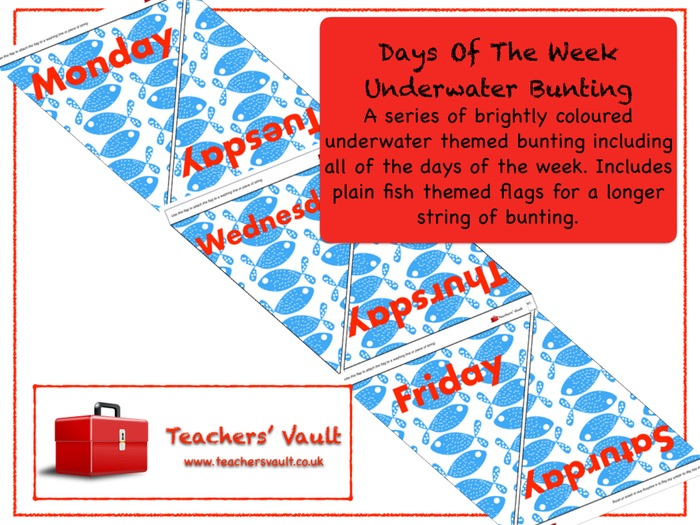 Days Of The Week Underwater Bunting