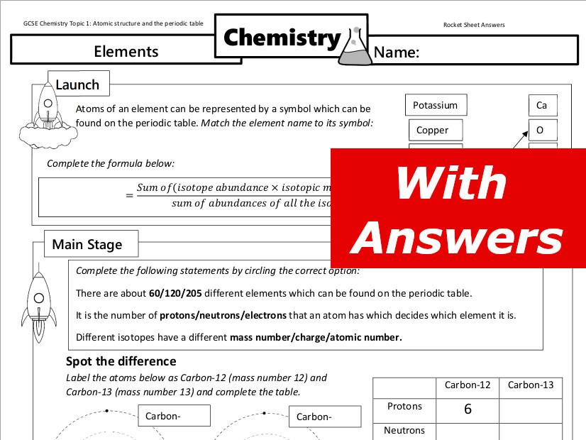 Elements worksheet GCSE Chemistry