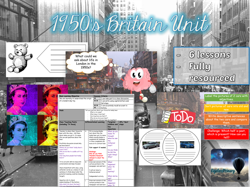 KS1 1950s Britain Topic - 6 Lessons - Fully Resourced