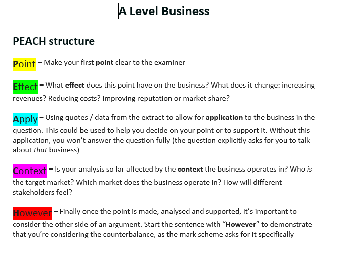 A level How to answer support booklet (PEACH paragraphs) Conclusions A01, A02, A03, A04