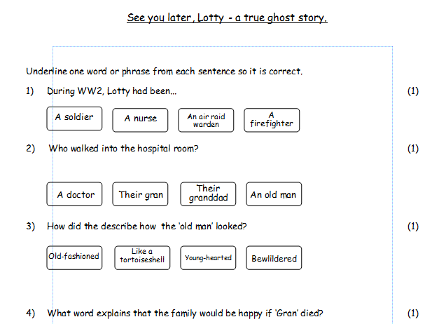 Ghost story, Guided Reading, Years 5, 6 & 7, SATs style questions.