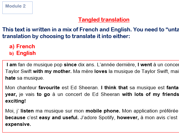 Tangled Translations GCSE French Module 2 (Answers Included!) Studio