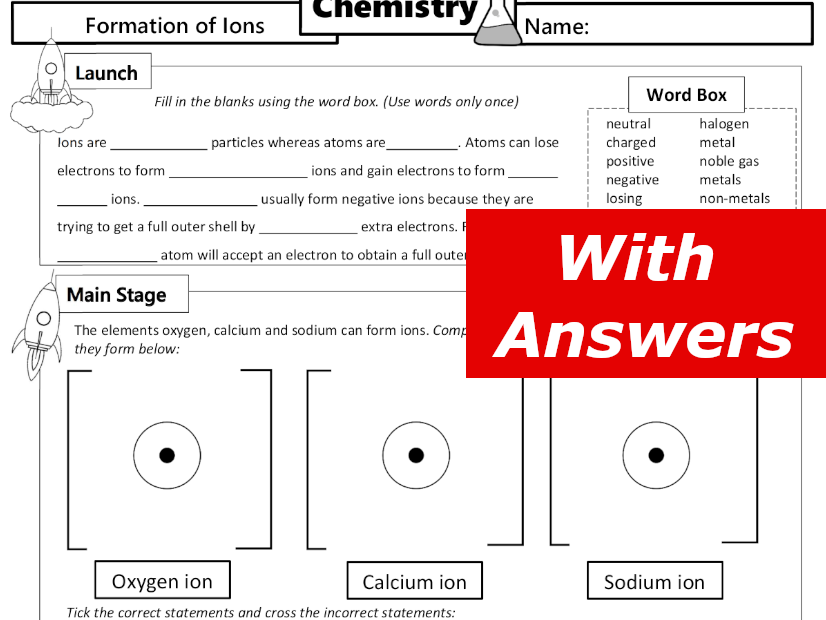 Formation of Ions Home Learning Worksheet GCSE