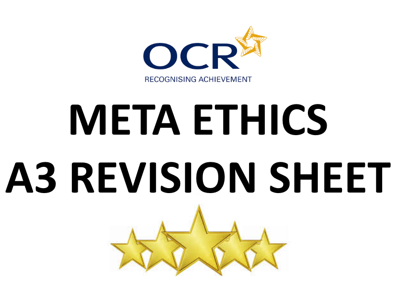 Meta Ethics (Ethical Theory) A3 Revision Sheet