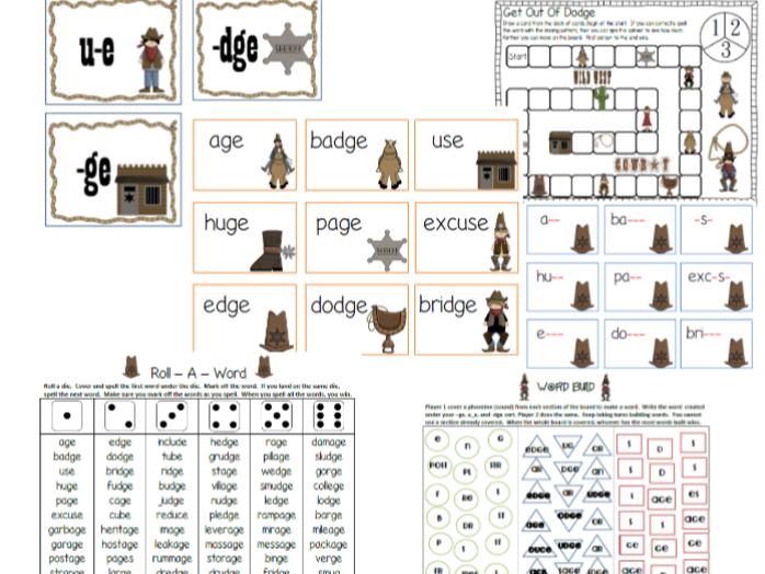 Ge and Dge Word Work Phonics Activities