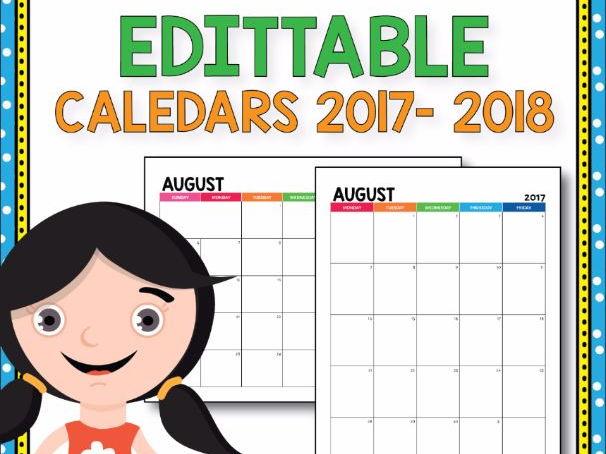 EDITABLE Calendar 2017-2018, Monthly Calendar, Editable Yearly Calendar
