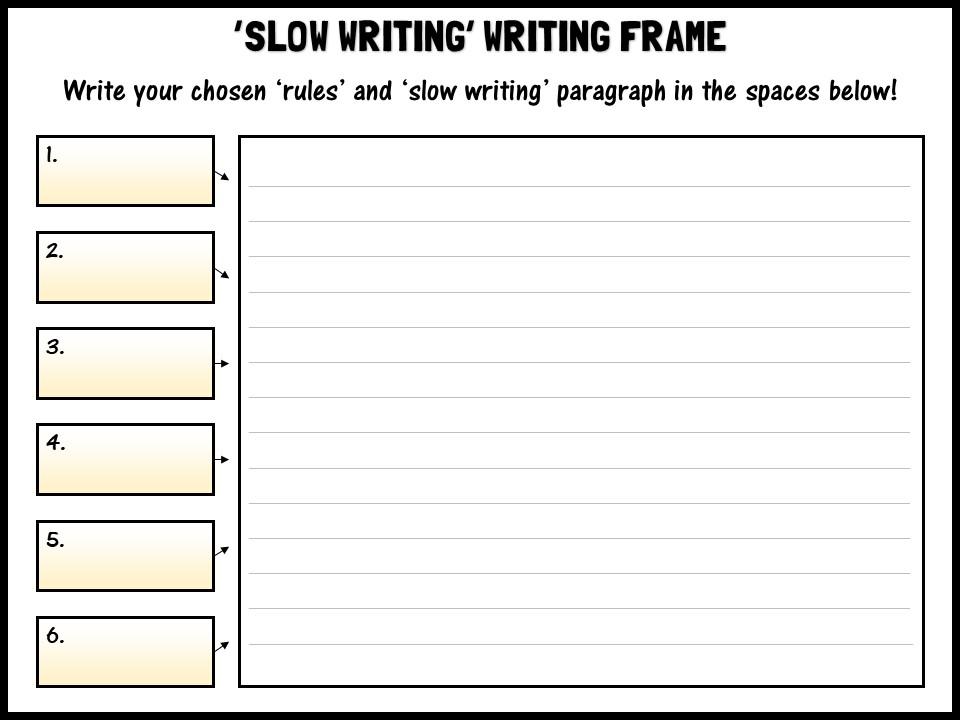 Slow Writing Writing Frame By Shaunandrewwilliams Teaching