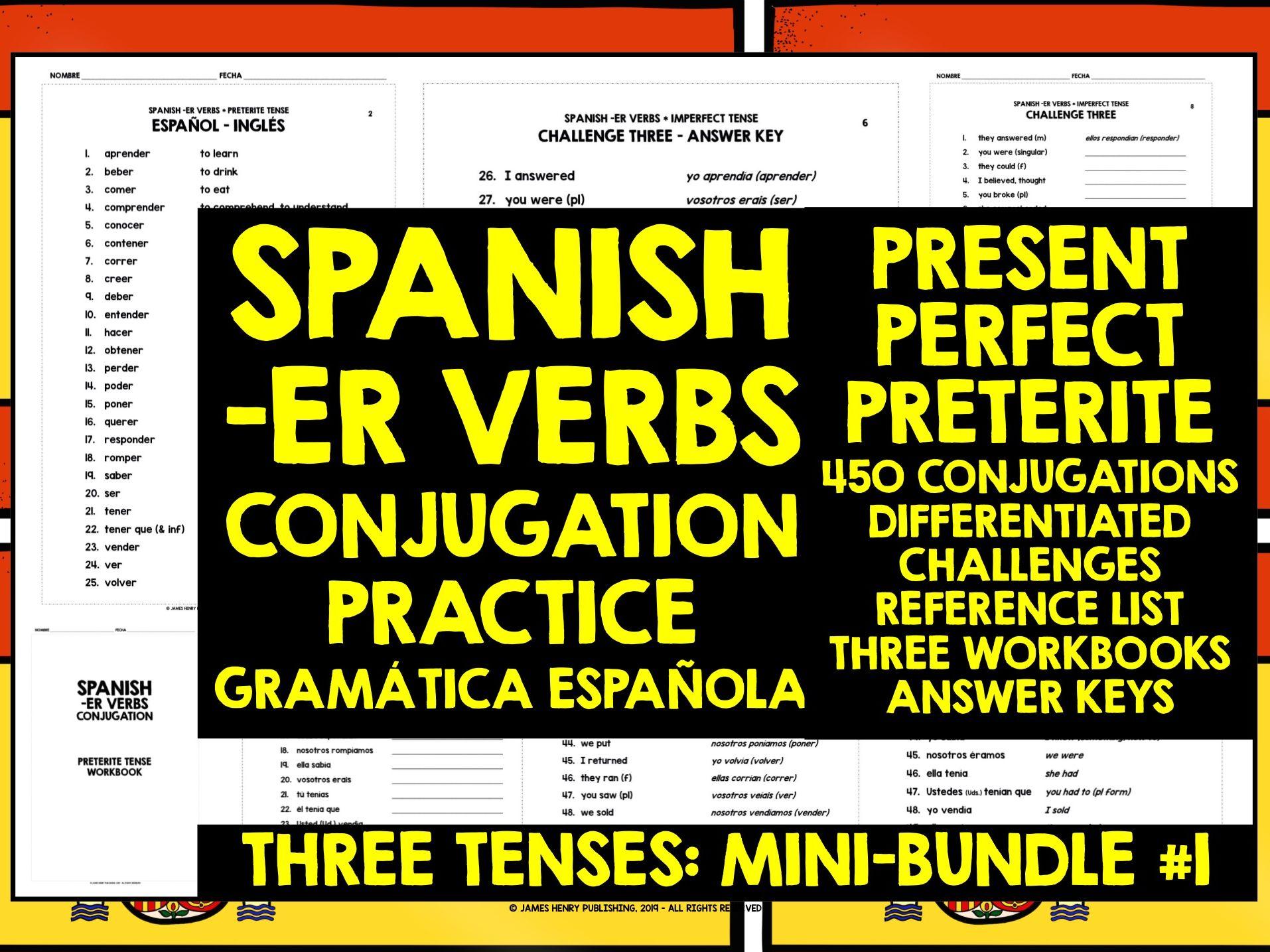 SPANISH ER VERBS GCSE CONJUGATION WORKBOOKS #1