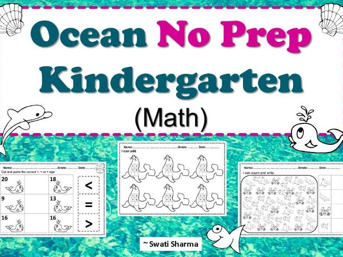 Ocean No Prep Kindergarten Math Worksheet Packet
