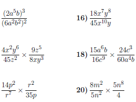 Simplifying expressions with indices worksheet (with solutions)