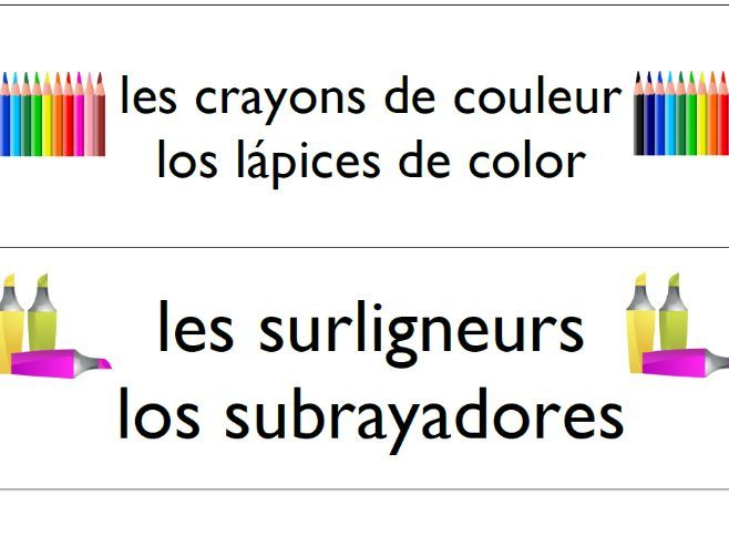French and Spanish Items in the classroom display