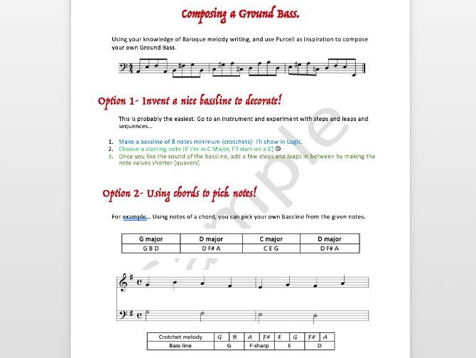 Music GCSE (9-1) Edexcel: AOS 2 Vocal Music- Purcell : Ground Bass