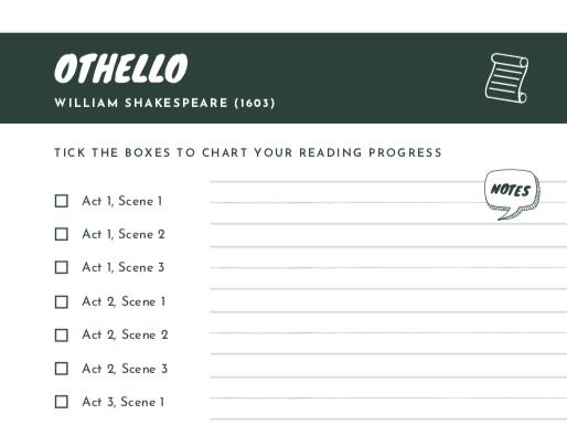 FREE Othello Scene Checklist | Reading Progress