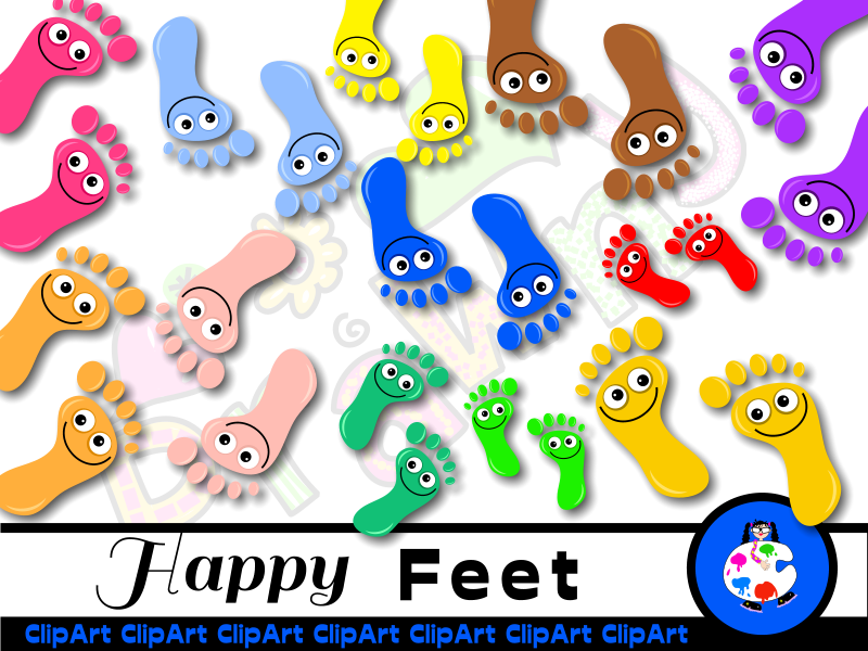 Diverse Happy Feet Clip Art