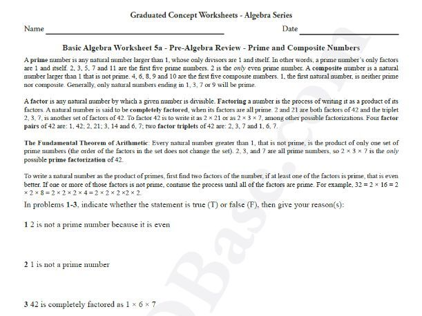 Basic Algebra Worksheet 5a - Pre-Algebra Review - Prime and Composite Numbers