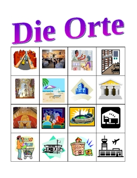Orte (Places in German) Bingo game