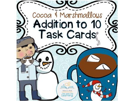 Addition Task Cards (Cocoa and Marshmallows theme)