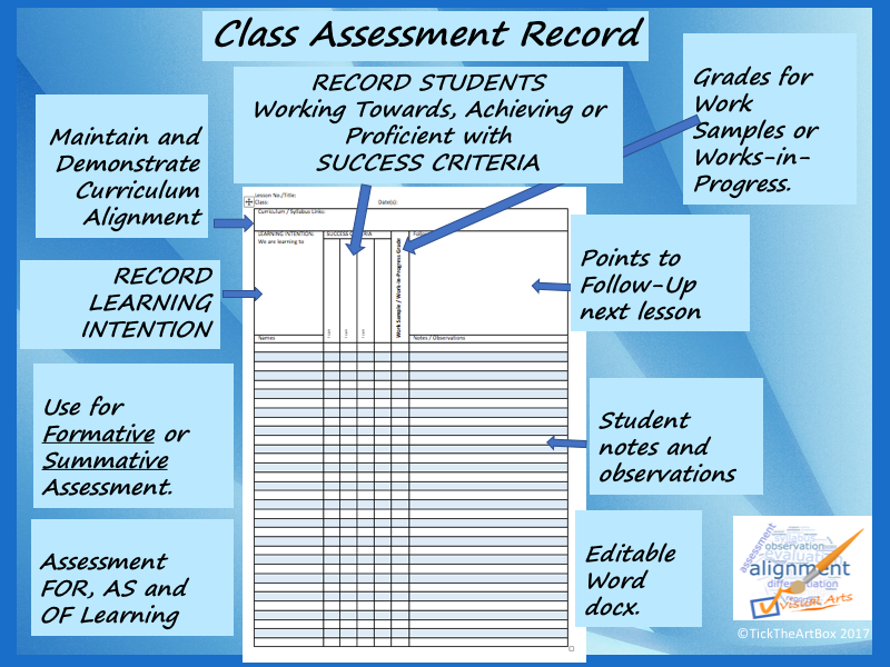 Class Assessment Record (with Success Criteria)