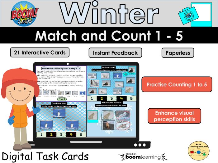 I Spy Count and Match Counting to 5 Winter Animals Visual Perception BOOM Cards Home Learning