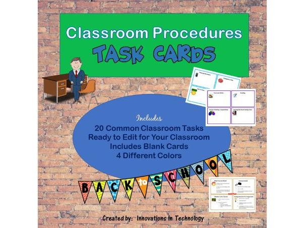 Classroom Procedures Task Cards - Back to School