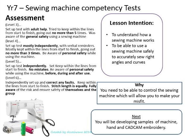 Health & Safety Lesson - Sewing machine competency Test