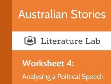 Australian Stories – Analysing a Political Speech Worksheet