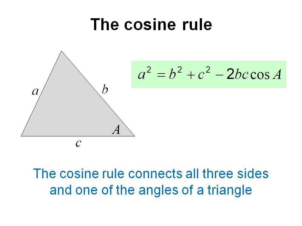 Cosine rule to find sides