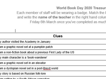 World Book Day Teacher Treasure Hunt