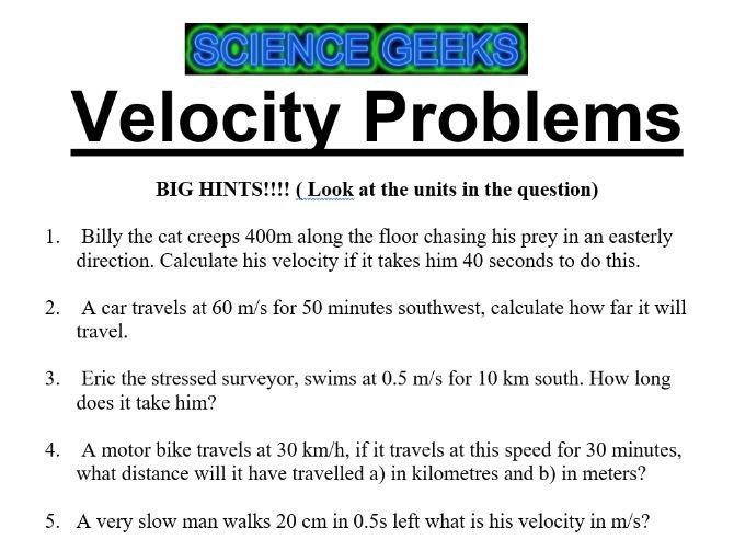 VELOCITY PROBLEMS