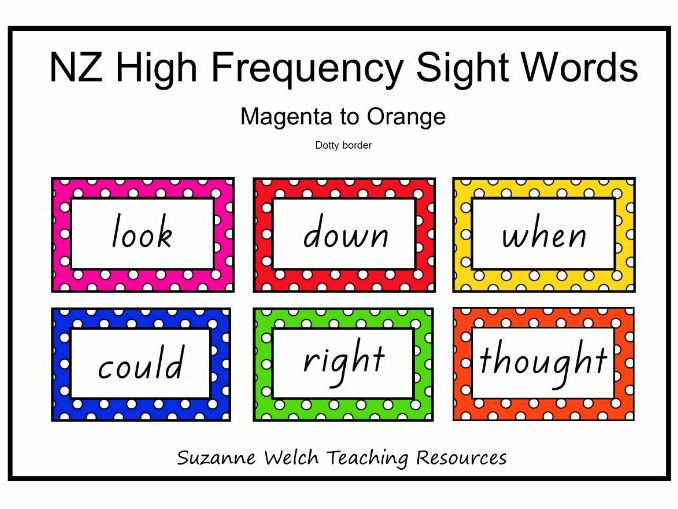New Zealand High Frequency Sight Words