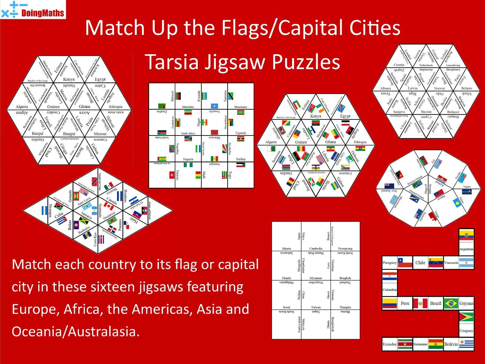 Flags and Capital Cities of the World Match-Up Jigsaw Puzzles