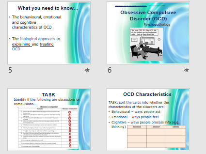 OCD CHARACTERISTICS - Full lesson AQA Psychology (powerpoint and activities)