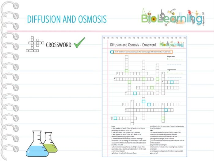 Diffusion and osmosis - Crossword (KS4)