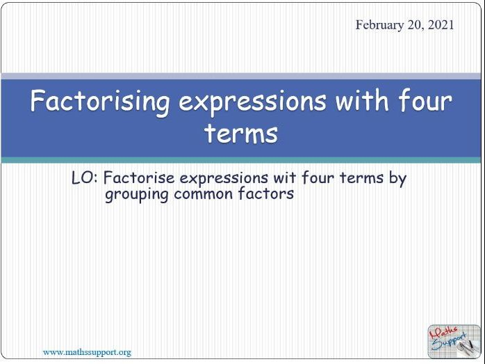 Factorising expressions with four terms