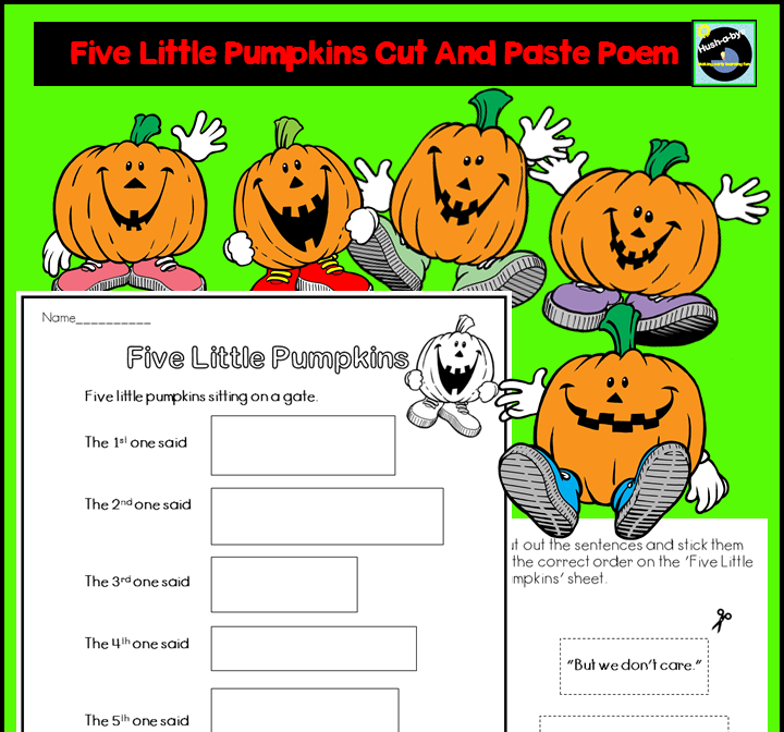 Five Little Pumpkins Cut And Paste Poem