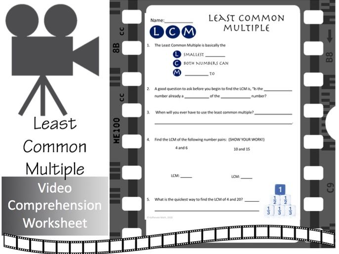 Least Common Multiple--Video Comprehension Activity