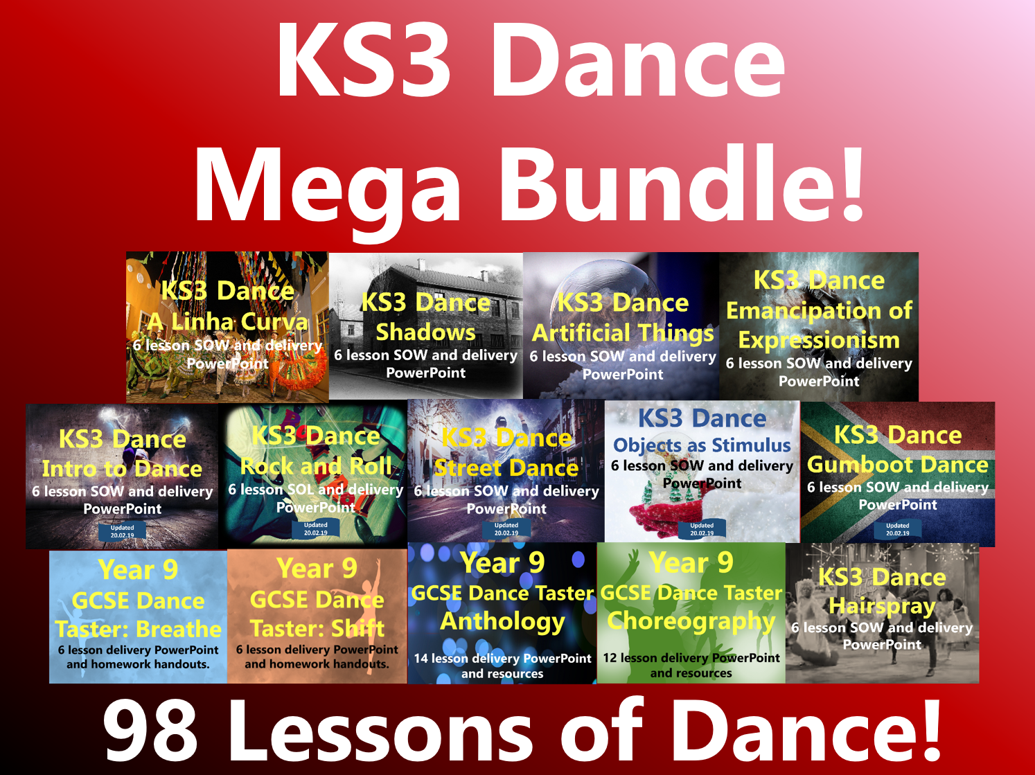 KS3 Dance Mega Bundle - 98 Lessons of Dance!