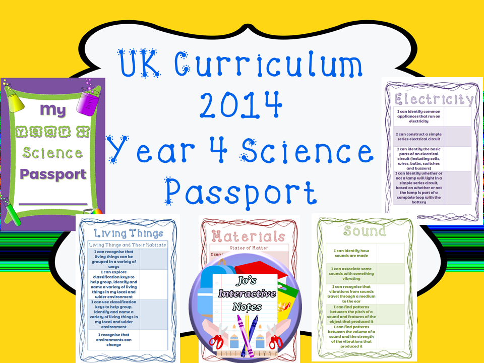 Year 4 National Curriculum Science Passport
