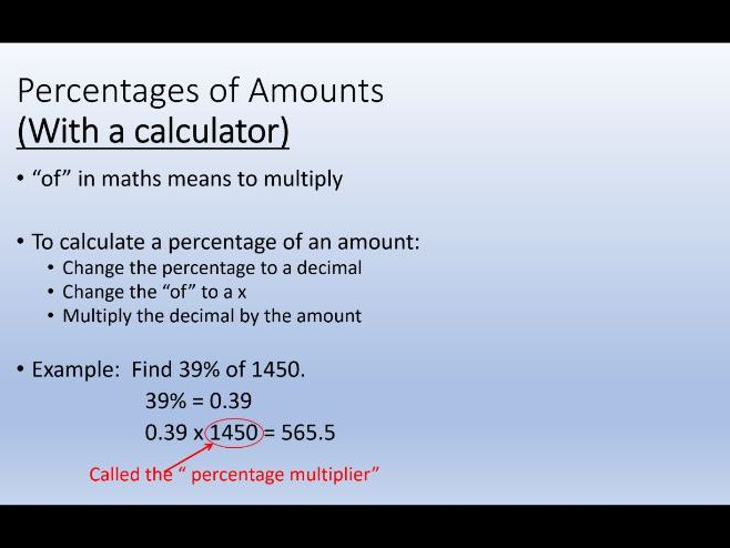Find Percentages of Amounts