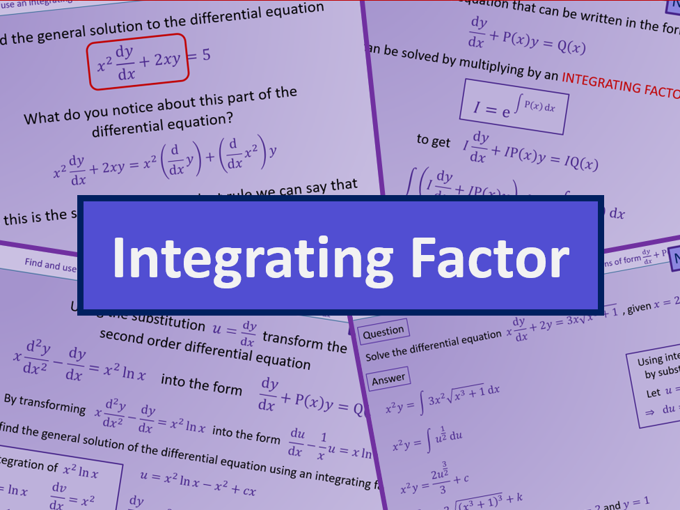 Differential equations integrating factor - Further maths A level A2