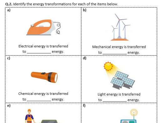 Distance Learning | Energy Transformations - Worksheet