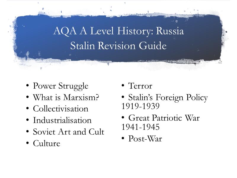 AQA A Level History Russia Stalin Guide