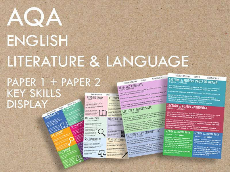 AQA English Lit+Lang  Paper 1+2 Key Skills Display Poster Set